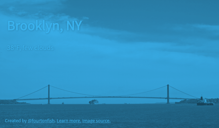 A tinted screenshot showing a preview of the app with weather in Brooklyn, New York.
